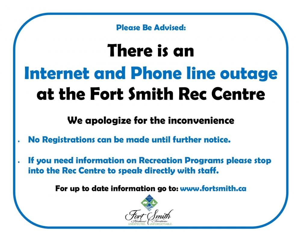 Internet and Phone line outage at Rec Centre | Town of Fort